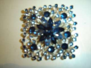 Vintage Square Pin Brooch Dark & Light Blue Rhinestones