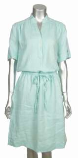 Sutton Studio Womens Linen Green Brown White Aqua Casual Beach Dress