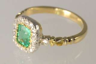18ct Gold Emerald & Rose Cut Diamond Antique Ring ca 1850