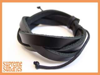 Style Pure Black Braided Hemp Surfer Leather Bracelet #1