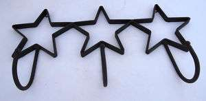 Country Western Black Iron Star Coat Key Hook Rack