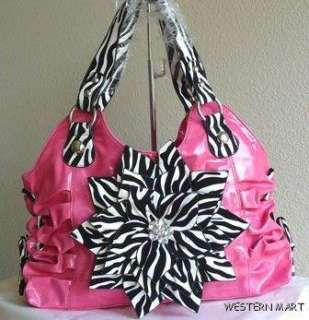 WHITE ZEBRA FLOWER PETAL RHINESTONE BLING RUCHED SHOPPER TOTE PURSE