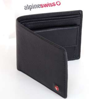Mens Leather Bifold Wallet Coin Pocket Purse Pouch Alpine Swiss 2 Bill