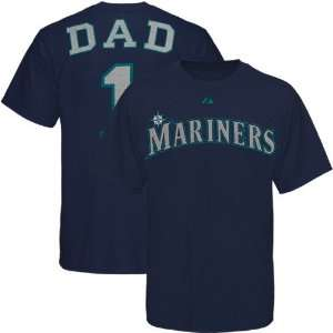 Majestic Seattle Mariners Navy Blue #1 Dad T shirt (Small