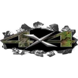 Metal 4x4 Decals Real Camo   6 h x 13 w   REFLECTIVE: Everything