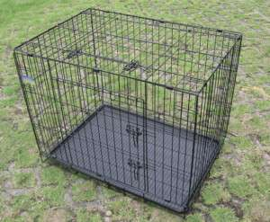New 2 Door 30 Folding Pet Dog Cage Crate Kennel Black