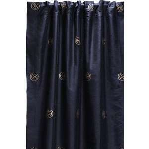 Embroidered Swirl Silk Drape 84l Oxford Blue Home