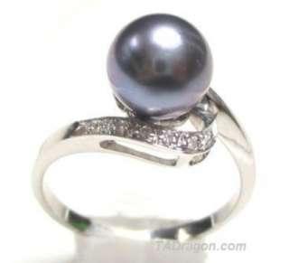5mm AAA Black Pearl 2.10g 14K White Gold Diamond Ring