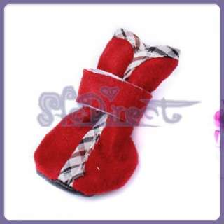 Sweet Santa Red Faux Suede Dog Yorker Boots Pet Shoes