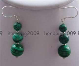 Beautiful 6 10mm Green Malachite Dangling Earrings