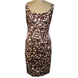 London Times Womens Ivory/ Brown Stretch Satin Dress