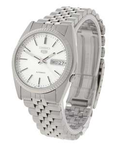 Seiko 5 Mens White Dial Rolex style Steel Watch