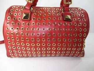 NWD MICHAEL KORS GRAYSON Red Grayson Grommet Leather Satchel Bag Purse