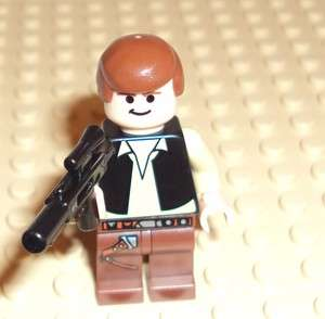 New Lego Minifig   Star Wars Han Solo with Blaster   Minifigure
