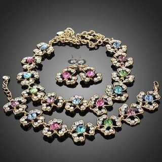 ARINNA petals color vogue necklace earrings bracelet set GP Swarovski