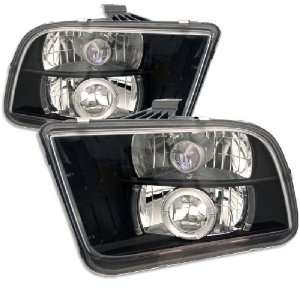 Ford Mustang 05 09 Halo Projector Headlights Black w/ FREE SUPER WHITE