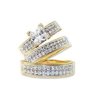 14k Yellow Gold, Trio Three Piece Wedding Ring Set Princess Lab