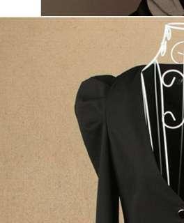 Women Ladies Puff Casual Suit Blazer Jacket Outerwear Coat Black Gray