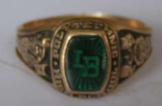 POLY HIGH 1975 GOLD GREEN LB RING 6 GRAMS 4TH & FOREVER
