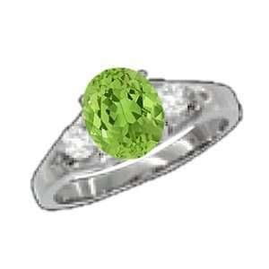 0.84 Ct Oval Green Peridot Diamond Sterling Silver Ring