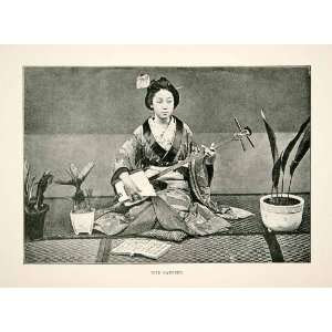 1891 Print Young Woman Japanese Shamisen Instrument Geisha