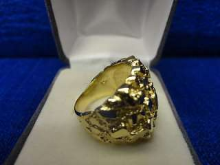 HEAVY MENS 14K YELLOW GOLD NUGGET RING, SIZE 7.75