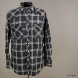 DICKIES Western Pearl Snap PLAID Flannel Cowboy Shirt LARGE