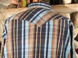 Western Cowboy Stripped Snap Heavy Flannel Work Chore Shirt XL