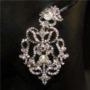 Royal Flower Earring Swarovski Crystal Floral Dangle Clear