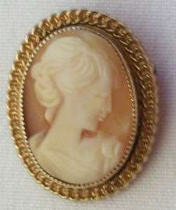 Vintage Catamore 12K Gold Filled Carved Shell Cameo Brooch Pin GF