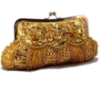 GOLD SATIN SEQUIN SEED BEAD BEADED EVENING BAG PARTY CLUTCH PURSE w