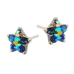 Star Stud Earrings with Blue Swarovski Crystals   Handmade in Israel