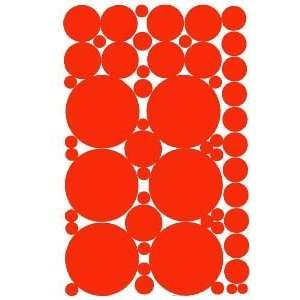 53 ORANGE Vinyl Polka Dots Wall Decor Decals Stickers