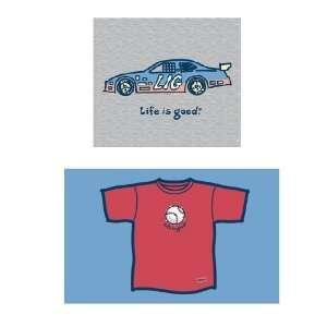 LIFE IS GOOD STOCK CAR CRUSHER S/S TEE   BOYS  Sports