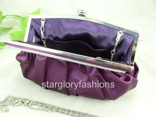 Satin Wedding/Evening Clutch Art Crystal Frame 6 Colors