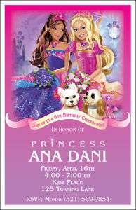 10 Barbie Princess Personalized Birthday Invitations