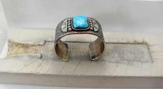 Native American Navajo TufaCast Silver Bracelet/Morenci Turquoise