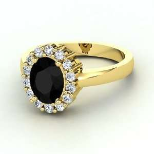 Penelope Ring, Oval Black Onyx 14K Yellow Gold Ring with Diamond