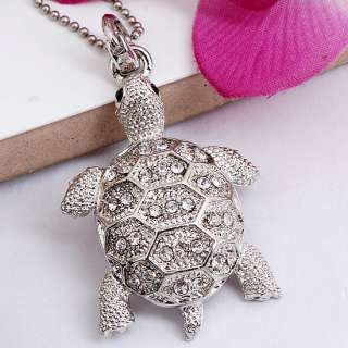 Silver Plated Clear Crystal Turtle Bead Jewelry Pendant