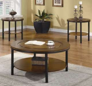 Contemporary Round Two Tone Coffee End Table 3 Pcs Set