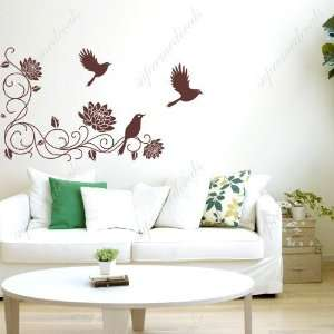 vines and birds   removable vinyl art wall decals murals home decor