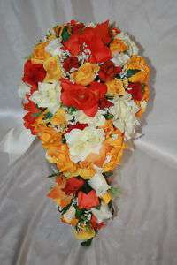 Fall Orange Yellow Silk Flower Wedding Bridal Bouquet Package