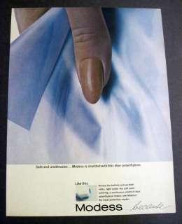 1965 Vintage MODESS Feminine Napkins Pads Blue 60s Ad