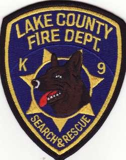 Lake County K 9 K9 Search & Rescue Fire Dept. Patch