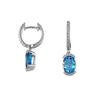 Grande Jewelry Ladies Diamond & Blue Topaz Earring in 14K White Gold