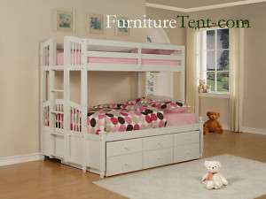 Kids Teen Wood White Twin Full Bunk Bed Trundle drawers