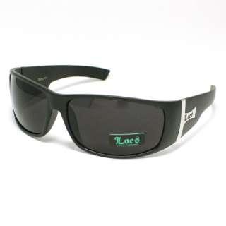 LOCS Mens Biker Gangster Sunglasses Dark MATTE BLACK