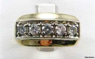DIAMOND Mens Wedding Band RING   10k White & Yellow Gold 12.2g
