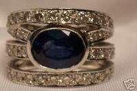 14K WHITE GOLD WIDE SAPPHIRE DIAMOND CIGAR BAND RING