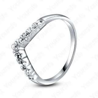 18K Gold Plated Swarovski Crystal Love Heart Ring Sz8